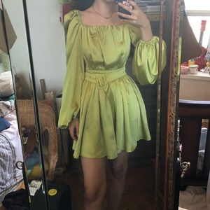 Satin Belted Flippy Mini Dress in Lime